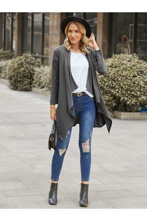 YOINS Casaul Grey Side Pockets Long Sleeves Cardigan