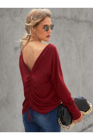 YOINS V-neck Drawstring Long sleeves Top