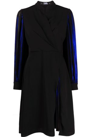 Karl Lagerfeld Women Party Dresses - Pleated sleeve metallic dress