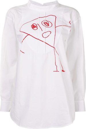 Plan C Women Blouses - Drawing print curved hem blouse