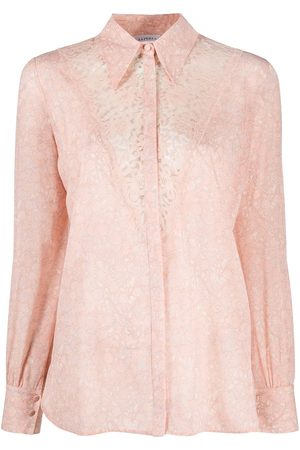 La Perla Floral-embroidered button-up shirt