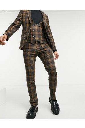 Twisted Tailor Suit trousers in brown and check