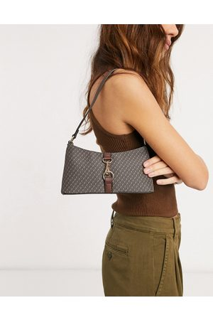 ASOS DESIGN Women Shoulder Bags - 90s shoulder bag in monogram print with hardware clip
