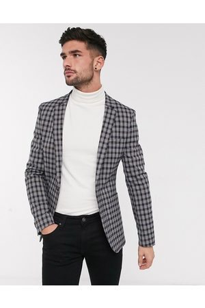 ASOS Skinny soft tailored blazer with gingham check in