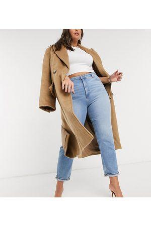 ASOS ASOS DESIGN Curve high rise farleigh 'slim' mom jeans in stonewash