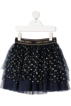 Alberta Ferretti Heart-print tulle skirt