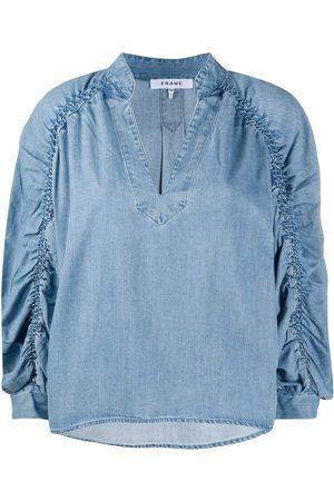Frame Ruched denim blouse