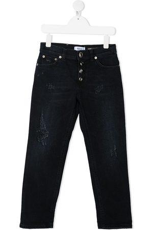 Dondup TEEN ripped-detail straight-leg jeans