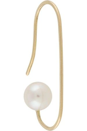 HSU JEWELLERY LONDON 18kt yellow Making Marks drawing line pearl hoop earring