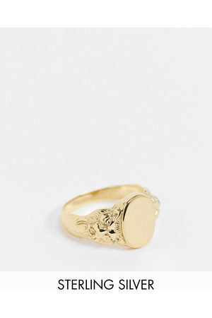 ASOS Sterling silver lion signet ring in 14k plate