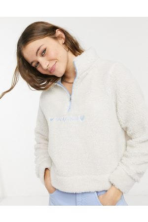 Skinnydip Half zip sweatshirt with love snacks embroidery