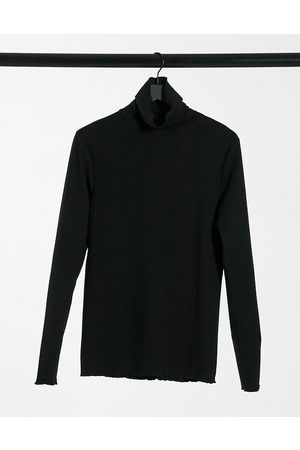 ASOS Muscle t-shirt with turtle neck in seersucker fabric