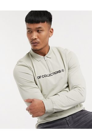 ASOS Dark Future Skinny long sleeve half zip polo with front embroidery