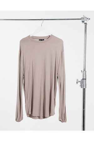 ASOS Relaxed fit long sleeve viscose t-shirt with balloon sleeve in washed