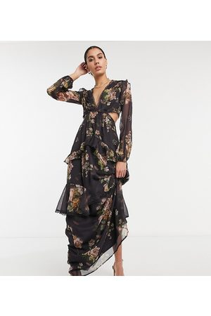 ASOS ASOS DESIGN Tall maxi dress with long sleeve and circle trim in floral print and embellishment in brown