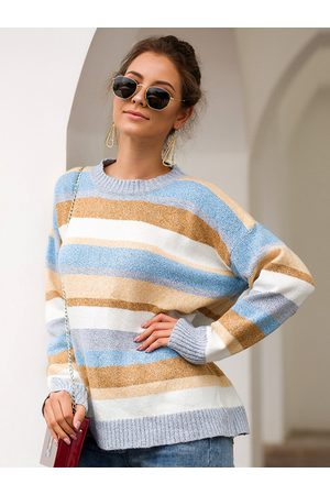 YOINS Multi Color Stripe Round Neck Oversized Jumper