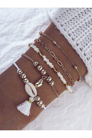 YOINS Shell Beaded Tassel Ball Chain Bracelet Five-piece