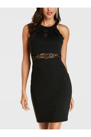 YOINS Lace Design Halter Sleeveless Bodycon Dress