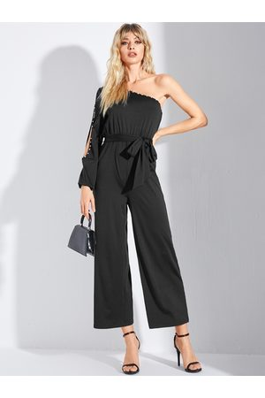 YOINS Black Belted Pearl Details Cut Out Long Sleeves Jumpsuit