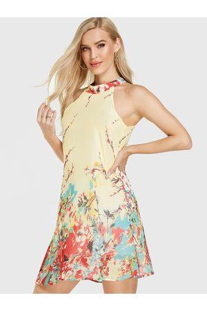 YOINS Women Printed Dresses - Floral Print Halter Sleeveless Dress