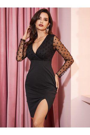 YOINS Women Midi Dresses - Black Mesh Polka Dot Wrap Design Long Sleeves Dress