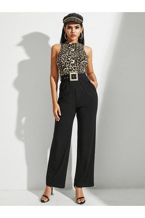 YOINS Women Jumpsuits - Multicolor Leopard Belted Side Pockets Sleeveless Jumpsuit