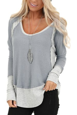 YOINS Grey Patchwork Round Neck Long Sleeves Tee