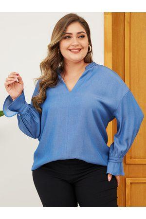 YOINS Plus Size Blue V-neck Long Sleeves Denim Blouse