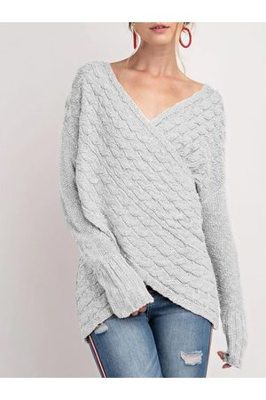 YOINS V-neck Long Sleeves Cable Knit Wrap Jumper