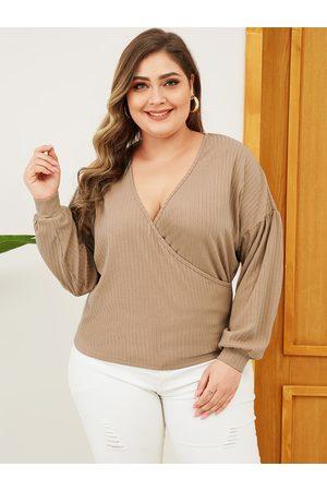 YOINS Plus Size Khaki Wrap Design Long Sleeves Tee