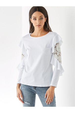 YOINS Round Neck Lace Long Sleeves Tee