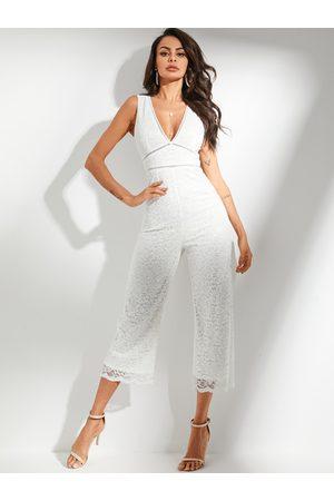 YOINS White Lace Hollow Design Deep V-neck Sleeveless Jumpsuit