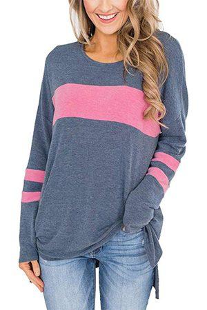 YOINS Color Block Round Neck Slit Hem Sweatshirt