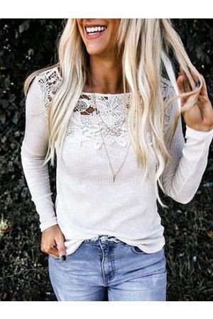 YOINS White Hollow Design Round Neck Long Sleeves Tee