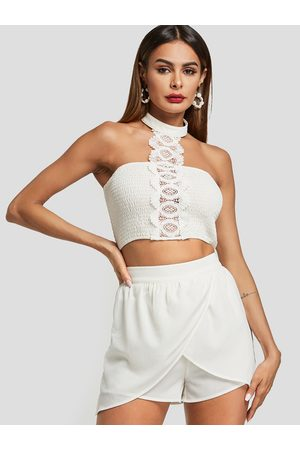 YOINS Lace Halter Neck Tiered design Two Piece Outfits