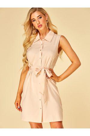 YOINS Women Sleeveless Dresses - Apricot Button Design Revere Collar Sleeveless Dress