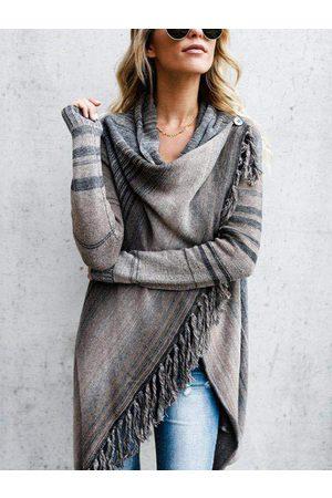 YOINS Grey Tassel Wrap Design Sweater