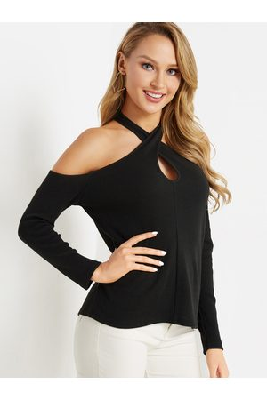 YOINS Cut Out Details Crossed Collar Long Sleeves Cold Shoulder Tee