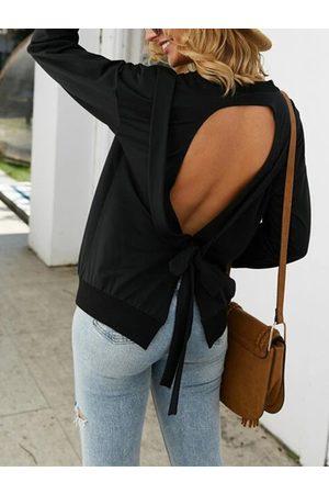 YOINS Black Backless Tie up Design Long Sleeves Tee