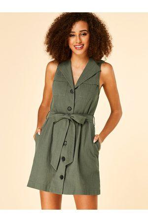 YOINS Women Sleeveless Dresses - Button Design Lapel Collar Sleeveless Dress