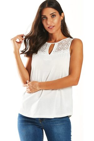 YOINS Lace Patchwork Cut Out Round Neck Tank Top