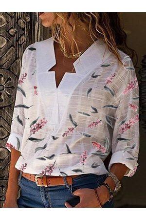YOINS White Floral Print V-neck Long Sleeves Shirt