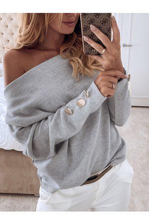 YOINS Grey Button Design Off The Shoulder Long Sleeves Sweatshirt