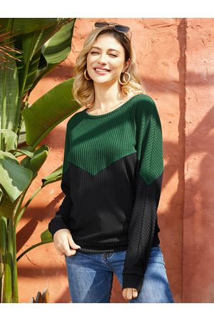 YOINS Black Patchwork Round Neck Long Sleeves Knit Tee
