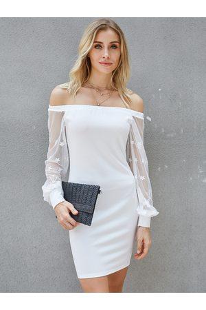 YOINS Semi Sheer Off The Shoulder Long Sleeves Dress
