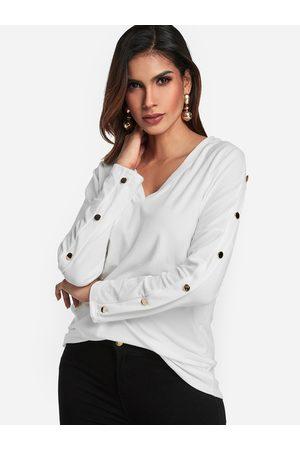 YOINS V-neck Button Design Fashion Tee