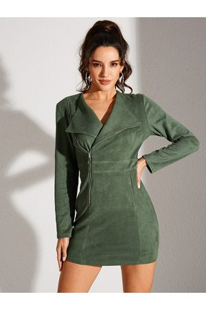 YOINS Army Green Zip Front Lapel Collar Long Sleeves Dress