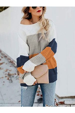 YOINS Women Jumpers - Color Block Knit Round Neck Sweater