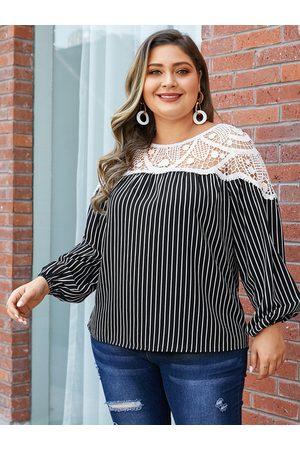 YOINS Women Long Sleeve - Plus Size Black Hollow Design Striped Round Neck Long Sleeves Tee