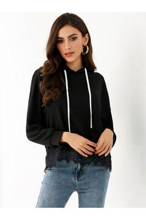 YOINS Tie-up Design Long Sleeves Lace Details Hoodie